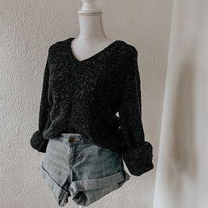 J Crew   charcoal grey fuzzy sweater size medium